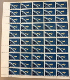 STAMPS COLLECTIBLE 1962 PROJECT MERCURY 4 Cent Stamps Full Page of 50 #27071