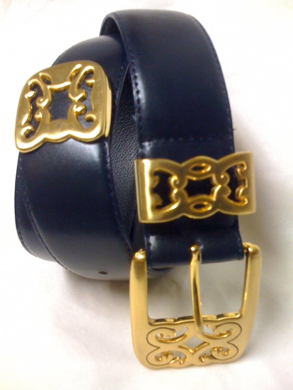 DONNA KATZ NAVY BLUE LEATHER BELT Medium