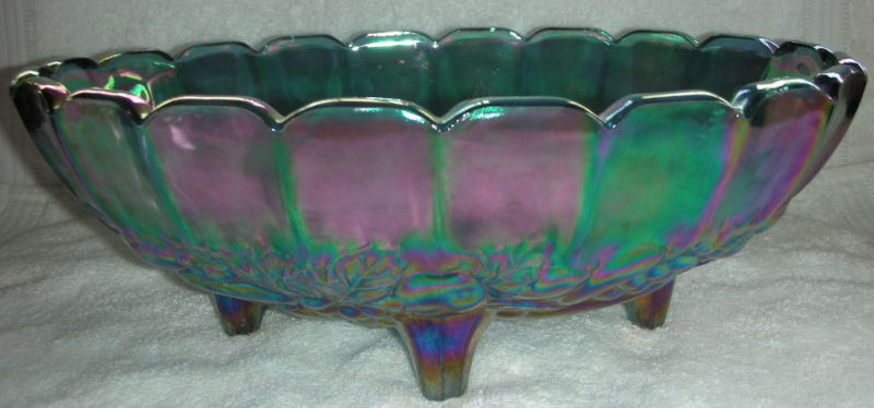 Carnival Glass Iridescent Bowl with Fruit Motif