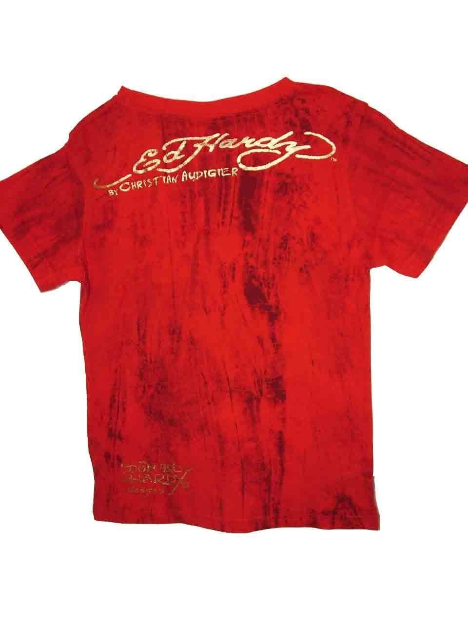 Image 3 of Ed Hardy Boys Bright Red Cotton Marble Tee Shirt - Lion Motif, Short Sleeve