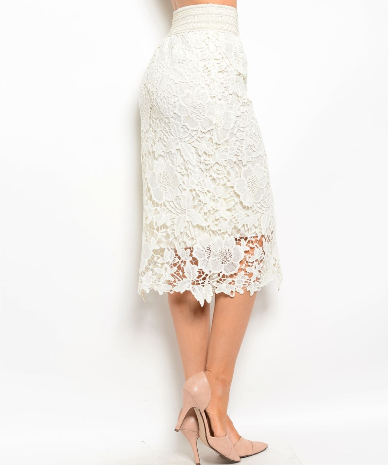 Image 3 of Chic Crochet Lace Lined Jr Skirt, Cocktail Club Party, Black, Ivory or White - B