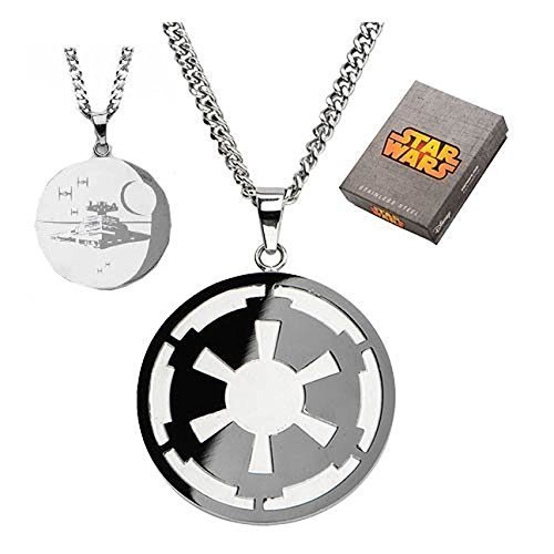 Star Wars Imperial Symbol and Death Star Etched Necklace [Jewelry] [Jan 01, 2014