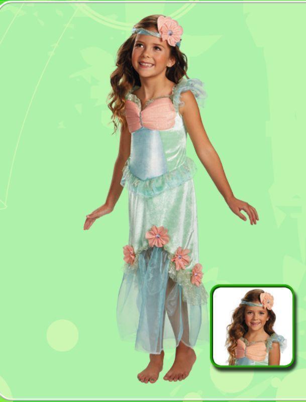 Image 2 of Precious Mystical Mermaid Princess Aqua/Coral Polyester Dress/Headpiece Disguise
