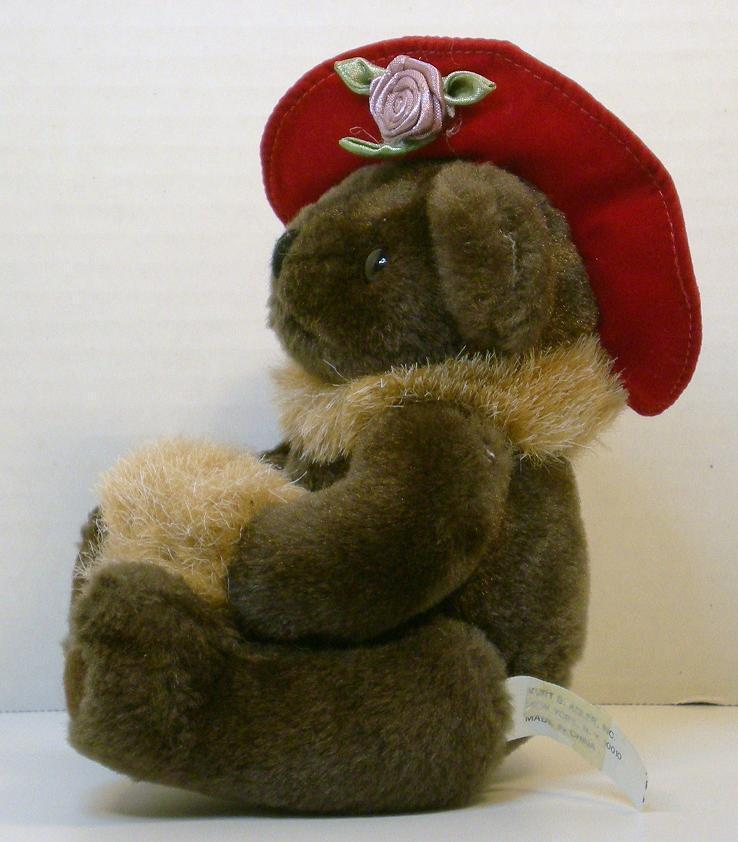 Image 1 of Red Hat Lady teddybear 5 inch 1994 gift sitting