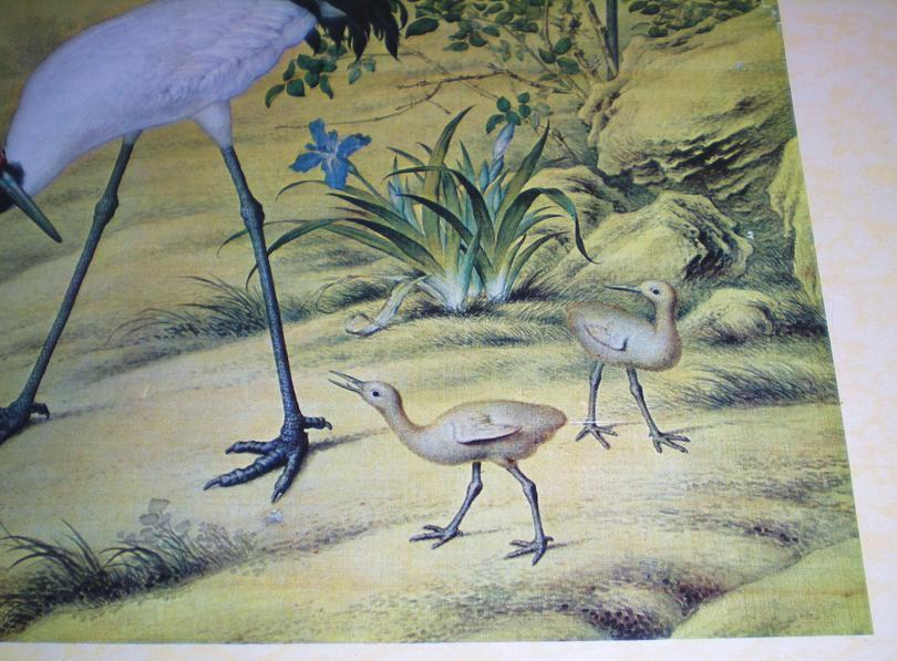 Image 1 of Cranes and Flowers by Lang Shih-ning high quality reprint