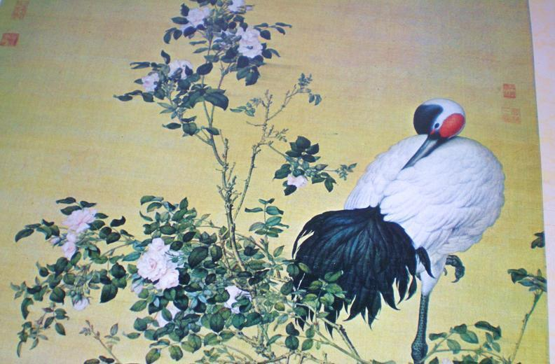Image 3 of Cranes and Flowers by Lang Shih-ning high quality reprint