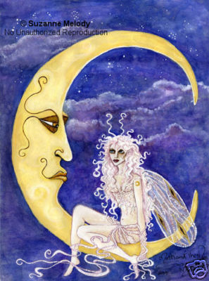 MOTH FAERIE AND THE MOON , a print by Suzanne Melody