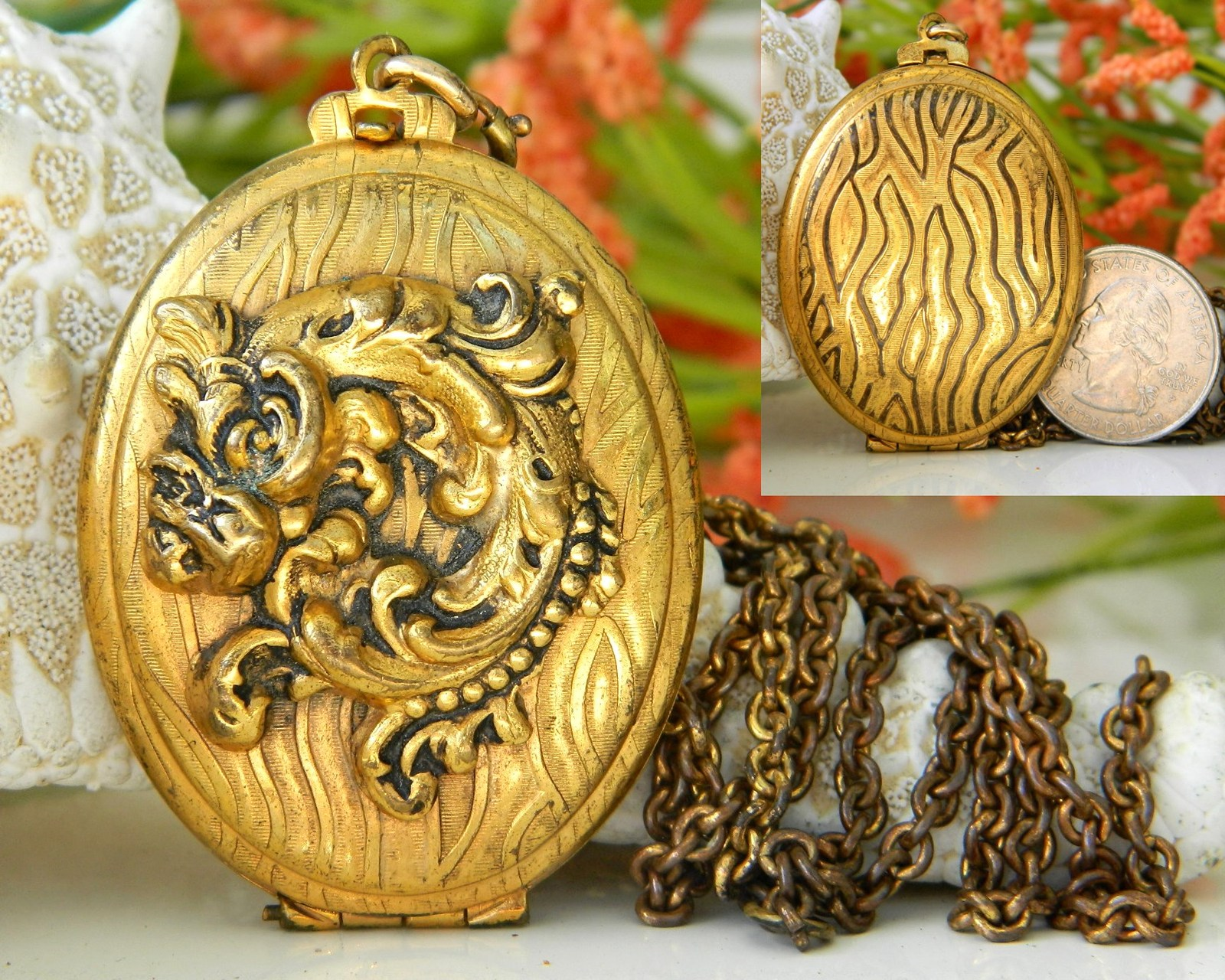 Vintage Brass Locket Pendant Necklace Gold Black Pattern  Unbranded