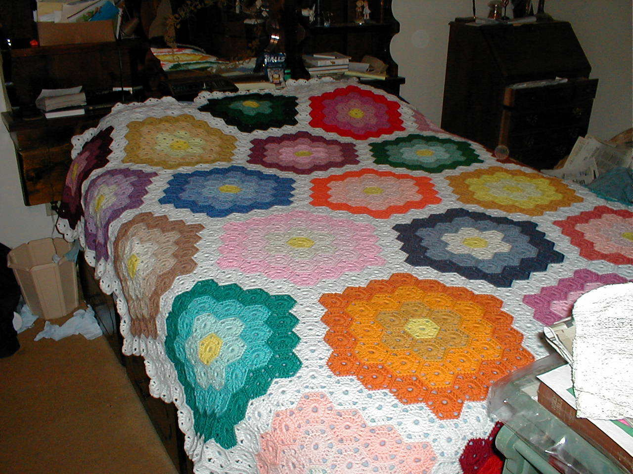 Mosaic Crochet Afghan Pattern : Handmade Crochet Afghan; Queen-Size; Mosaic Pattern - Other
