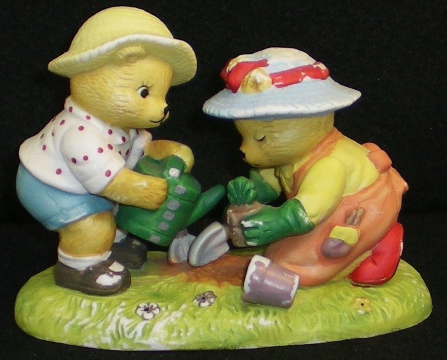 Image 0 of Calendar Bears May Planting Bears Bronson Figurine 1990