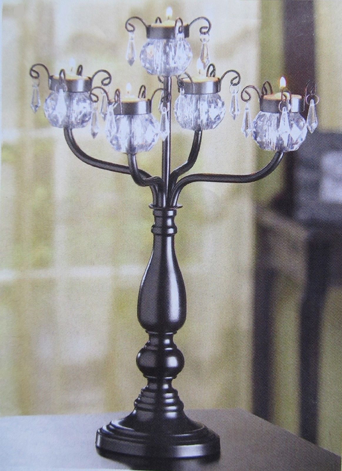 Black candelabra wedding centerpiece tall table decor