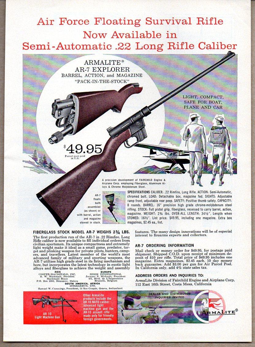 1960 Vintage Ad Armalite Ar 7 Explorer Ar15 Com