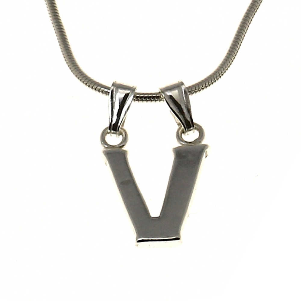 v alphabet charm necklace pendant and chain sterling