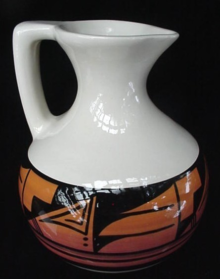 Ute Mountain Mtn Indian Art Pottery Carafe Pitcher Jug Signd