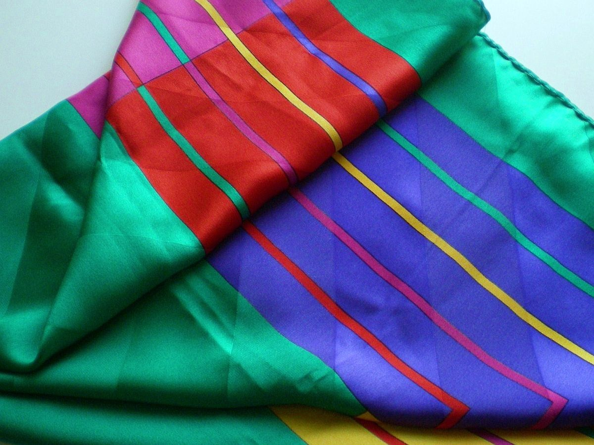 Image 1 of Nordstrom 100% silk green yellow blue pink square scarf
