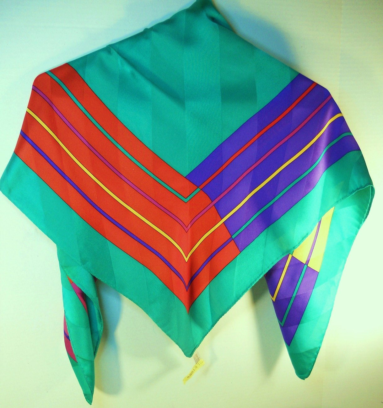 Image 4 of Nordstrom 100% silk green yellow blue pink square scarf