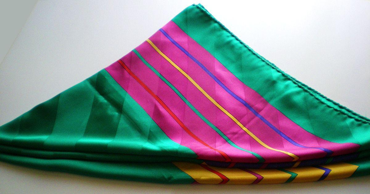 Image 5 of Nordstrom 100% silk green yellow blue pink square scarf