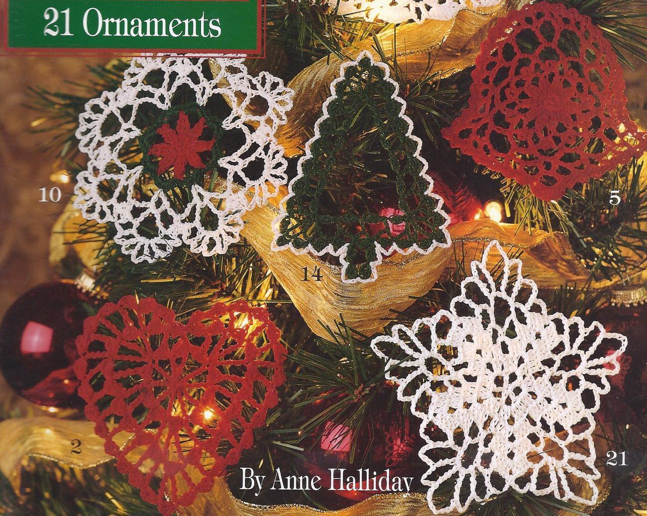 21 Thread Crochet Christmas Tree Ornaments Angel Snowflake ...