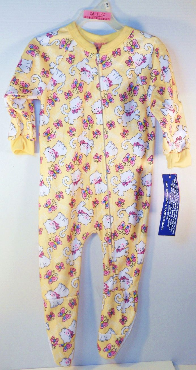 Carter's Girls 12 month zipper sleeper kittens butterflies yellow