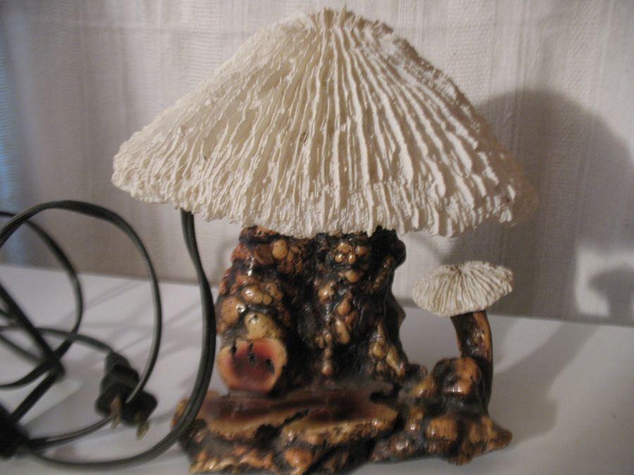 Vintage Burl Wood Mushroom Table Lamp Coral And 50 Similar