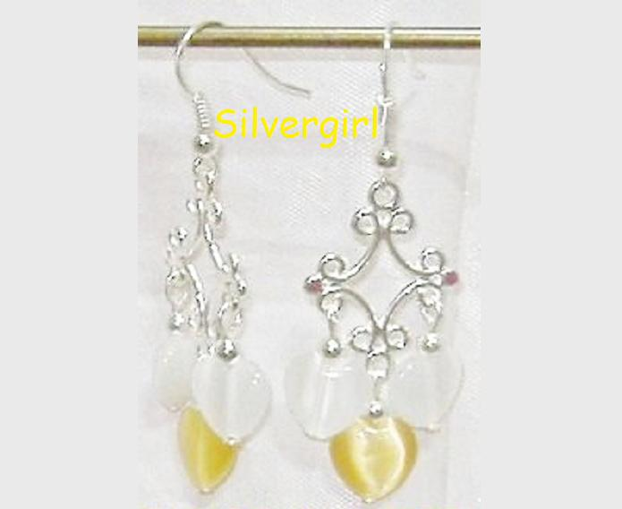 Fiber Optic Gold White Heart Silver Chandelier Earrings