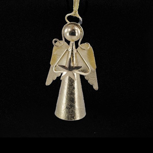 Metal handcrafted star angel gold bell holiday ornament
