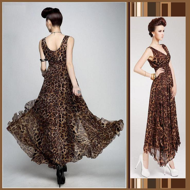 Sheer Layered Leopard Chiffon Prom Gown Empire Waist Amp V