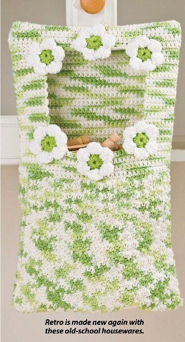 Free Crochet Pattern For Clothespin Bag : W256 Crochet PATTERN ONLY Clothespin Bag and Scrubbie ...