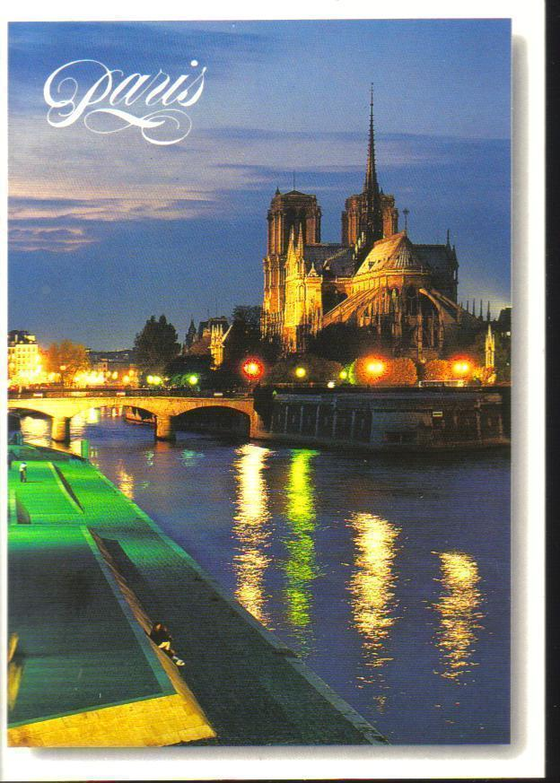 The Seine and Notre-Dame at Night, Paris, France Postcard