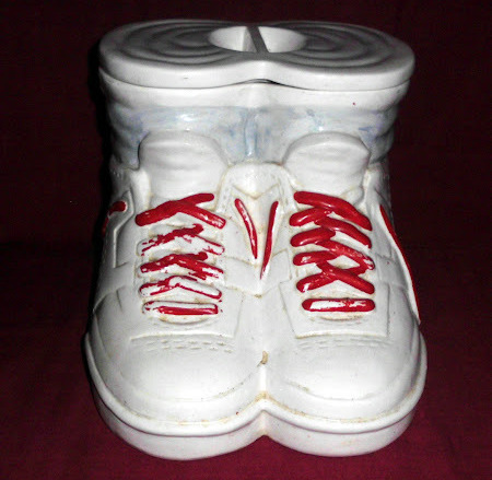 Running Shoes Sneakers Boots with Socks White Red Laces Lid Cookie Jar Canister