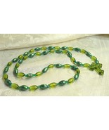 Two Shades Green Oval Beaded Cross Necklace - $25.00