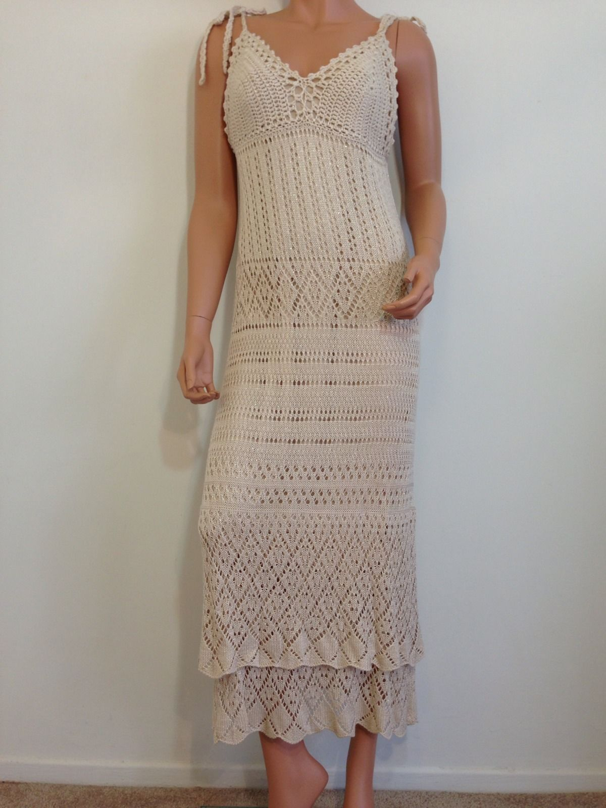 Crochet Maxi Dress : Beige Crochet Maxi Hippie Bohemian Dress SMALL - Dresses