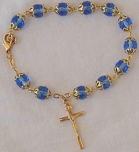 Rosary bracelet light blue beads