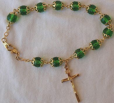 Rosary Bracelet Green gass beads with golden cross