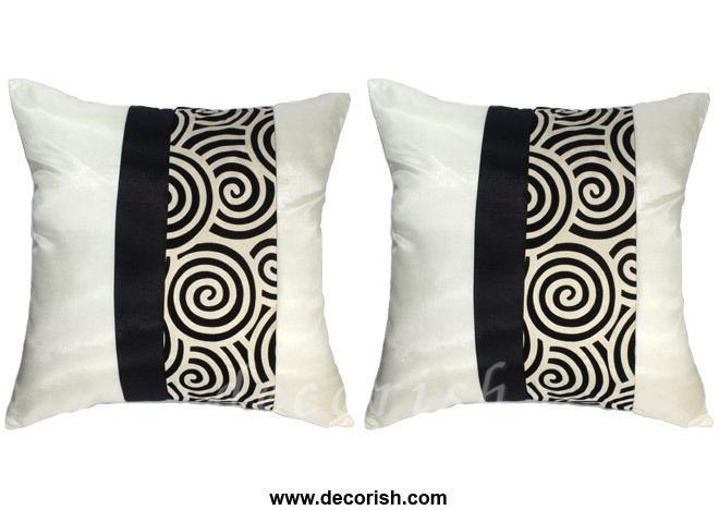 2 SILK THROW DECORATIVE PILLOW COVERS Cream Black 16 - Pillows