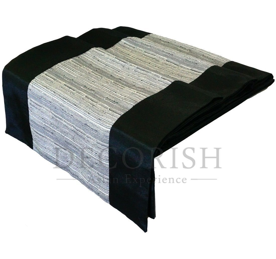 Black grey rectangular silk decorative bed table runner for 120 inches table runner
