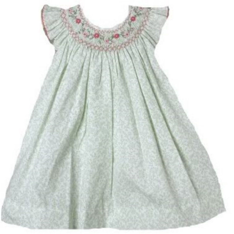 Image 2 of Posh Sweet Beautiful Angel Sleeve Green Floral Petit Ami Gold Girl Smocked Dress