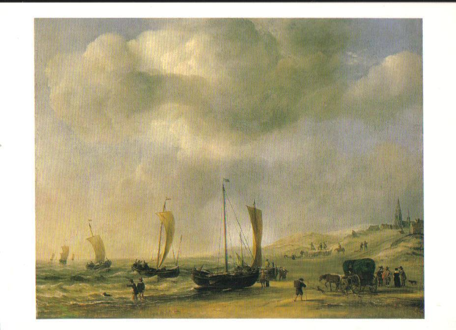 The Shore at Scheveningen Art Print Postcard