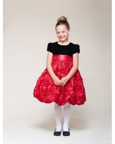 Image 1 of Dressy Velvet Top Swirl Floral Red Skirt Pageant Flower Girl Dress Crayon Kids -