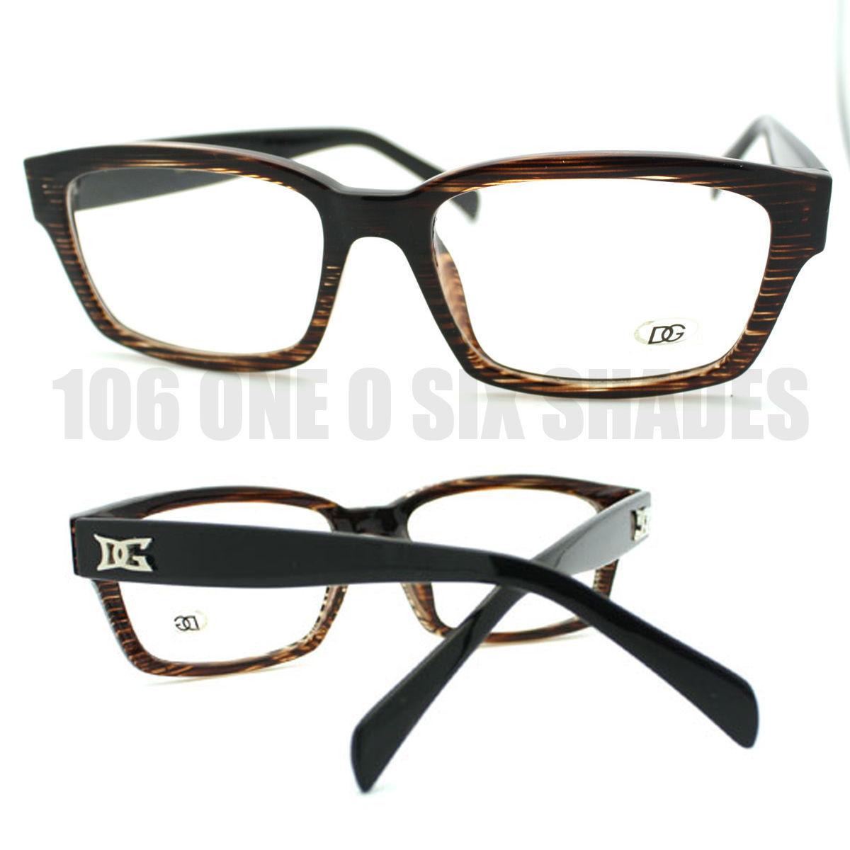 New 2-Tone Brown Hardcore Narrow Clear Lens Glasses ...