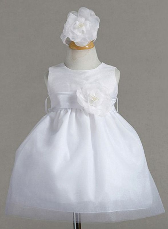 Dressy Baby Girl Sleeveless Christening Dress Hairband Flower Set USA, Polyester