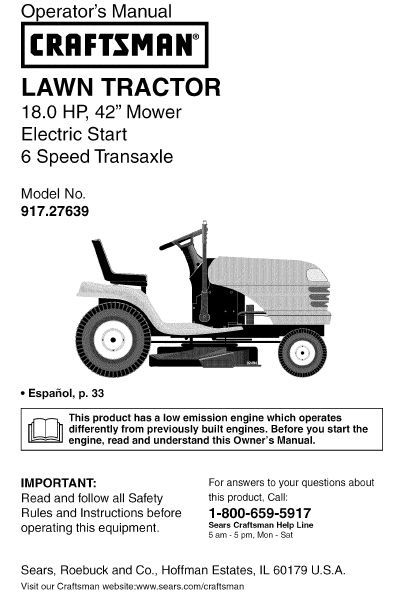 Craftsman lawn tractor manual 19 hp