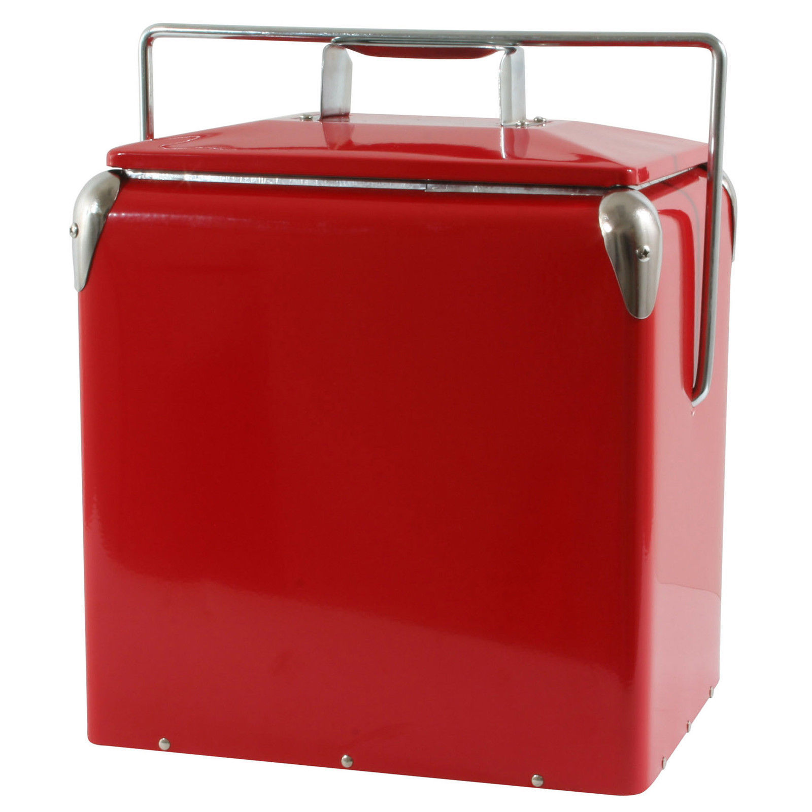 new picnic cooler red built in bottle opener retro cans bottles food camping coolers ice chests. Black Bedroom Furniture Sets. Home Design Ideas