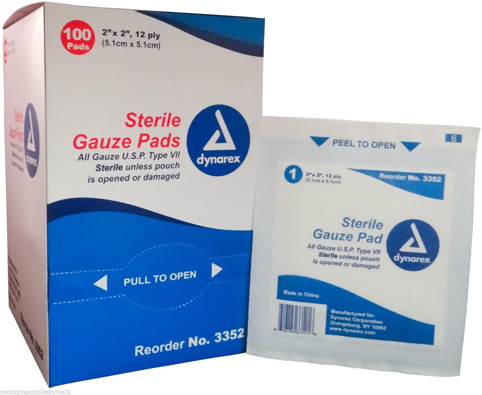 """Gauze Pads Sterile Sponges 2"""" x 2""""100 / Box - MS42120 ..."""