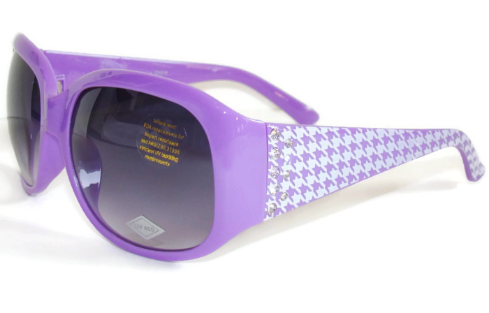Purple Houndstooth Retro Vintage Italy Fashion Designer Sunglasses Rhinestones