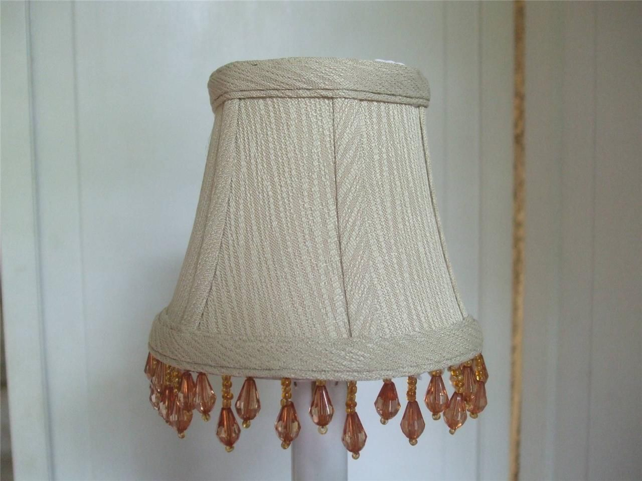 chandelier lamp sconce clip on mini beaded shade beige color textured. Black Bedroom Furniture Sets. Home Design Ideas