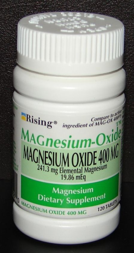 Magnesium oxide 400 mg dietary supplement tablets