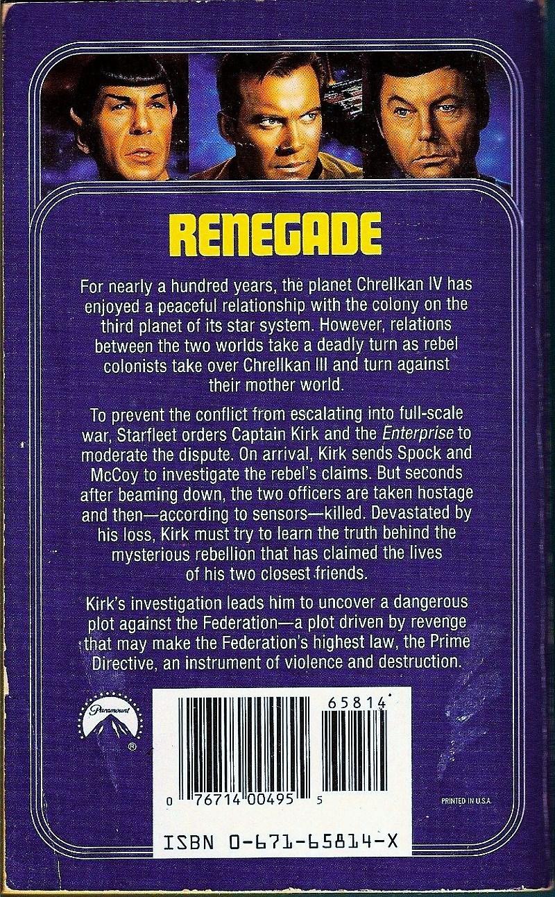 Image 1 of Star Trek Original Series Renegade No 55 by Gene DeWeese 1991