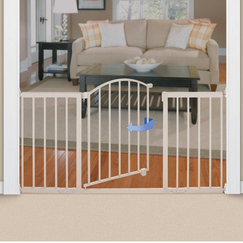 Infant Baby Gate Extra Wide Metal Decorative Walk Thru