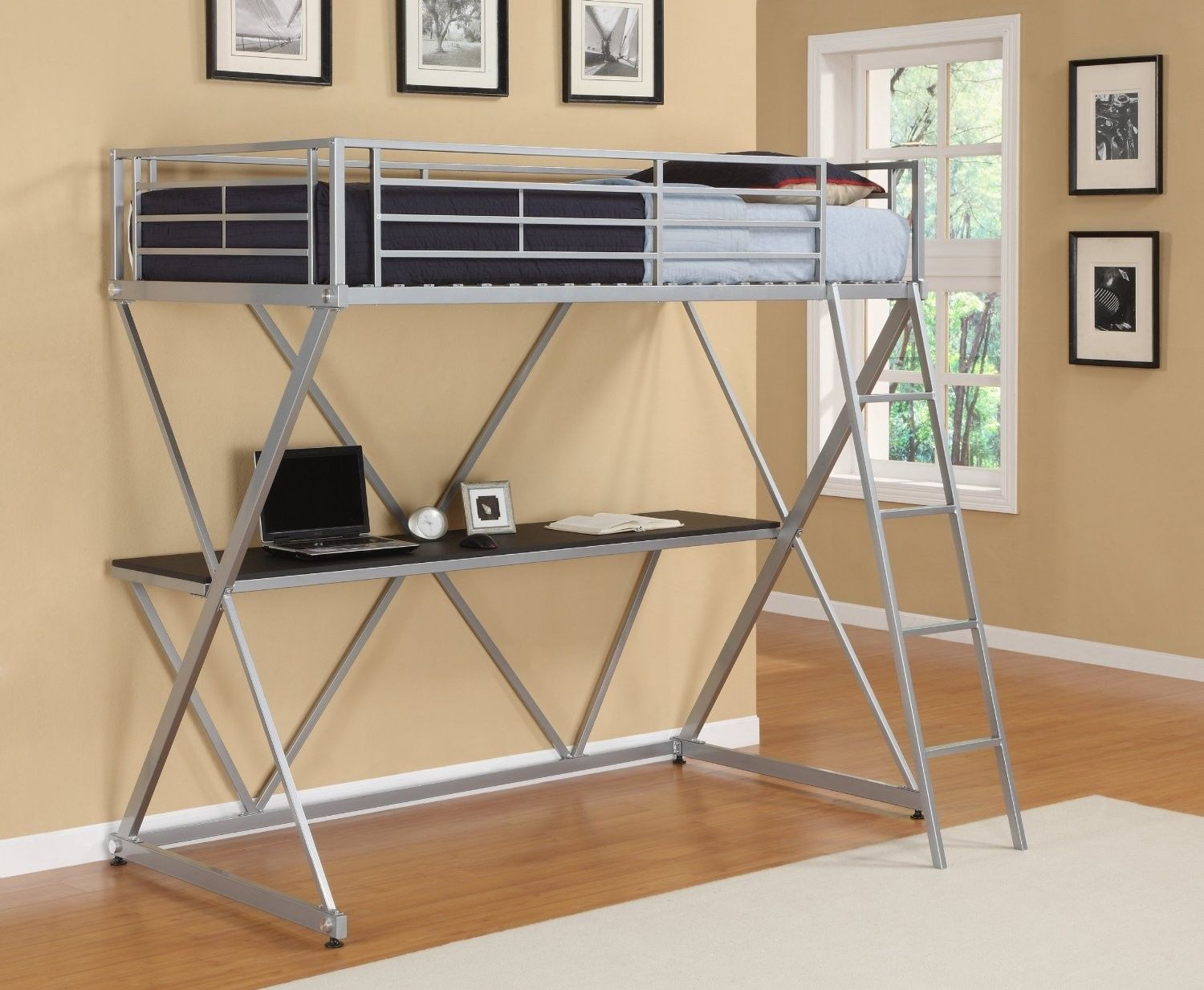 Bed Home Office Computer Workstation Desk Ladder Guard Rails - Beds